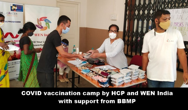 COVID vaccination camp in Bangalore by HCP and WEN India with support from BBMP